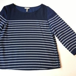 Joie Scoop Neck 3/4 Sleeve Striped Blouse
